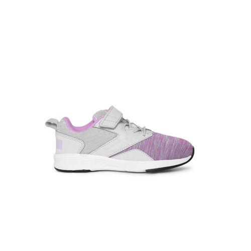 Puma Kids Grey & Purple NRGY Comet V PS Sneakers