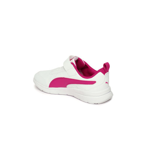 Puma Kids White & Pink Flex Essential SL V PS Sneakers