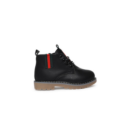 Kittens Boys Black Solid Leather Mid-Top Flat Boots