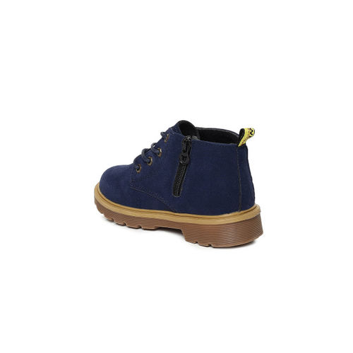 Kittens Boys Navy Blue Solid Synthetic Leather Mid-Top Flat Boots