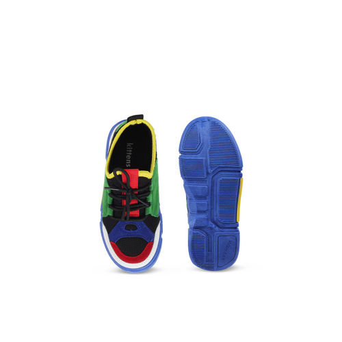 Kittens Boys Blue & Green Colourblocked Sneakers