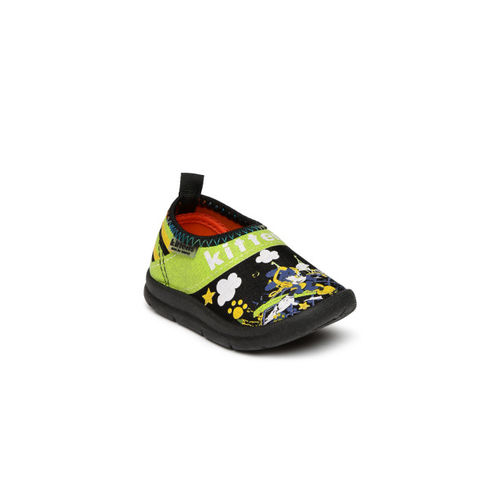 Kittens Boys Black Printed Casual Shoes