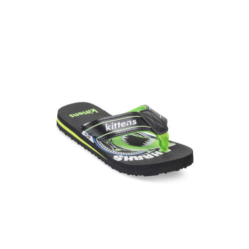 Kittens Boys Black & Green Printed Flip Flops