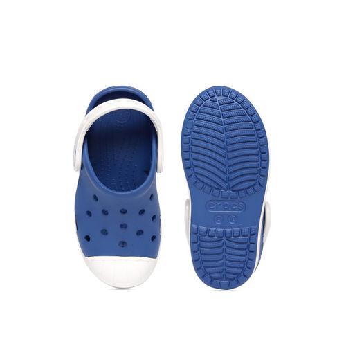 Crocs Boys Blue & White Solid Clogs
