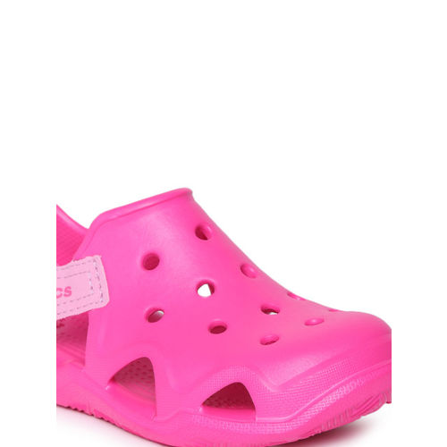 Crocs Unisex Pink Swiftwater Wave Solid Clogs