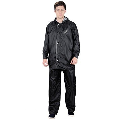 FabSeasons Men's Polyester Reversible Waterproof Raincoat with Adjustable Hood and Reflector at Back - Pack: Top, Bottom and Storage Bag
