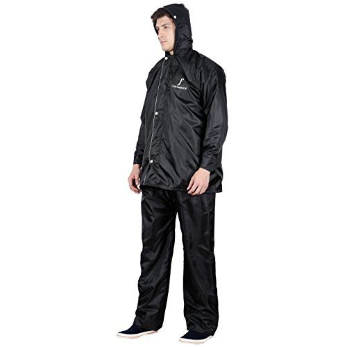 FabSeasons Men's Polyester Waterproof Raincoat with Adjustable Hood and Reflector at Back