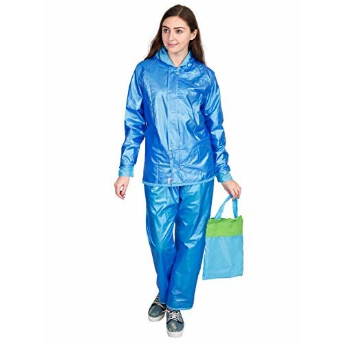 FabSeasons Waterproof Raincoat Set for Women with Adjustable Hood and Reflector at Back for Night Visibility. Pack Contains Top, Bottom and Storage Bag