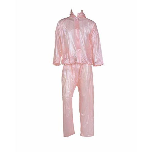 Malvina Men's Transparent Heavy PVC for Bikers|Waterproof Rainwear|Transparent Rainsuit (Pink)