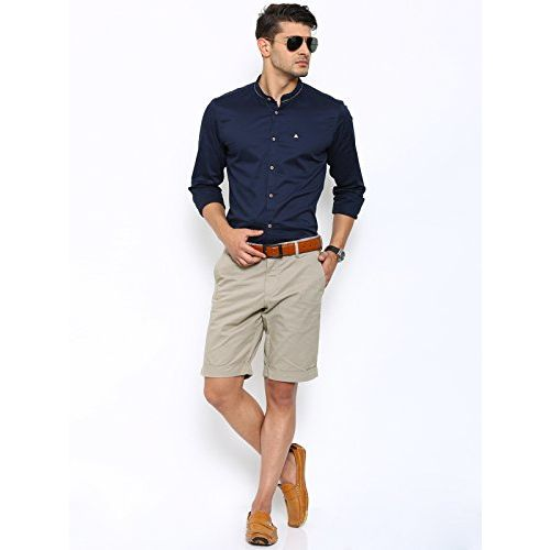 SHOWOFF Mens Beige Printed Casual Shorts