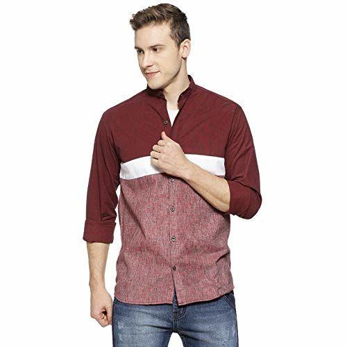 Campus Sutra Men Mandarin Collar Shirt