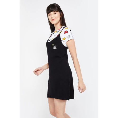 GINGER Printed Pinafore Dress with Attached Top