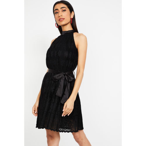 MS. TAKEN Cutaway Sleeves Fit & Flare Lace Dress