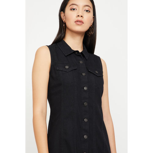 LEVI'S Solid Sleeveless Shirt Dress