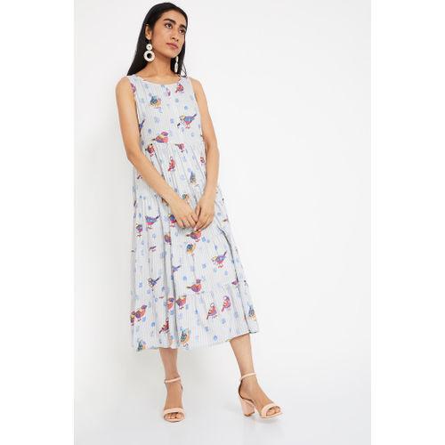COLOUR ME Printed Sleeveless Maxi Dress