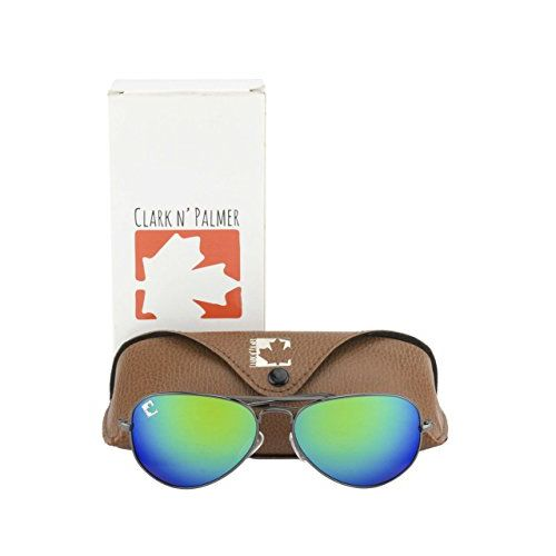 clark n palmer Mirrored Aviator Unisex Sunglasses - (CNP-RB-717|58|Green Color Lens)
