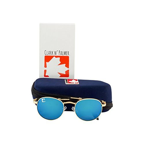 clark n palmer Mirrored Oval Unisex Sunglasses - (CNP-SB-825|54|Blue Color Lens)