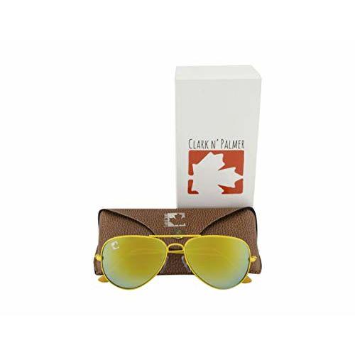 clark n palmer Mirrored Aviator Unisex Sunglasses - (CNP-SB-761|58|Gold Color Lens)