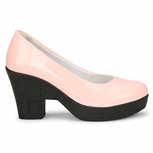 FASHIMO Women's Attractive Patent Leather Block Heels Bellies