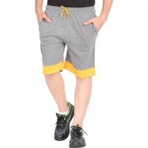 Checkersbay Solid Men Grey, Yellow Sports Shorts