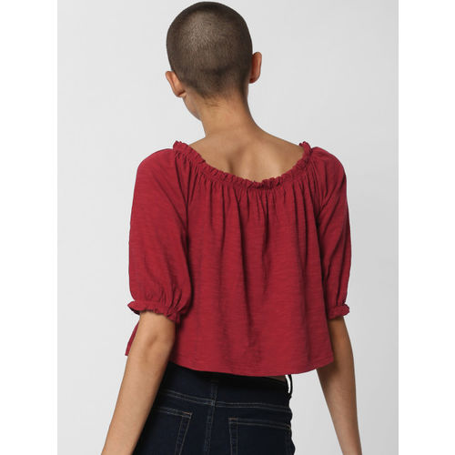 ONLY Women Red Solid Cropped Top