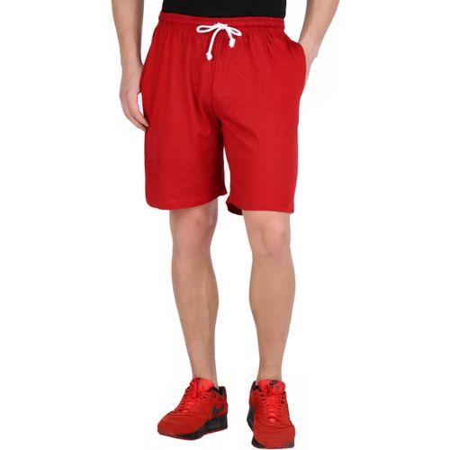 Checkersbay Solid Men Red Sports Shorts