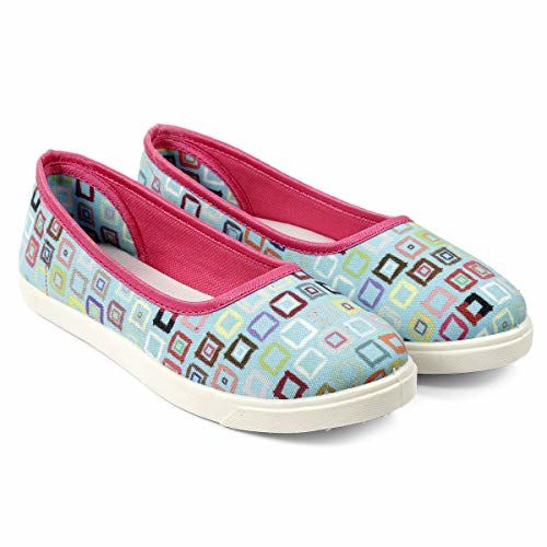 meriggiare Women Light Blue Canvas Upper Square Printed Artwork Design Slip-ons Bellies/Belly/Ballerina Casual Shoes