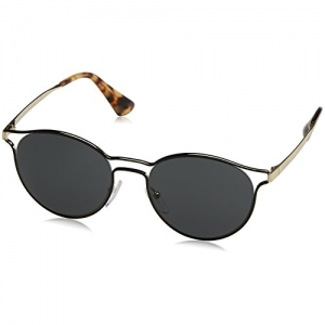 Prada 62SS 1AB0A7 Black Silver 62SS Round Sunglasses Lens Category 2 Size 53mm