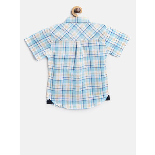 Gini and Jony Boys Blue & White Regular Fit Checked Casual Shirt