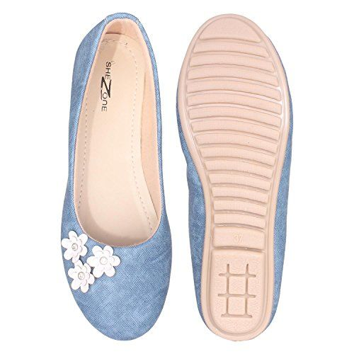 Shezone Beautiful Blue Color Synthetic Material bellerinas from
