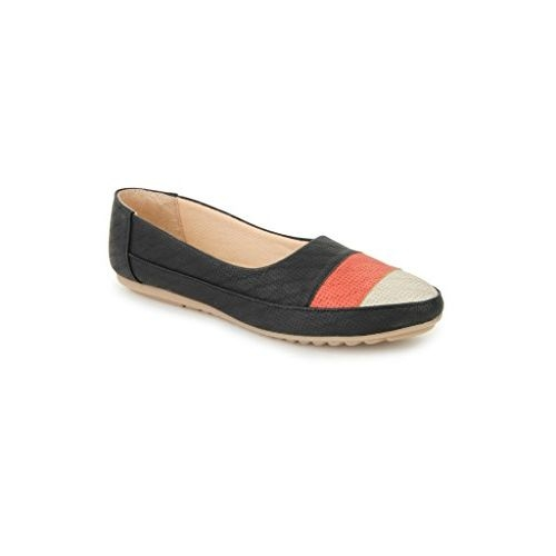 Shezone Synthetic Leather Black Women Flats Bellies