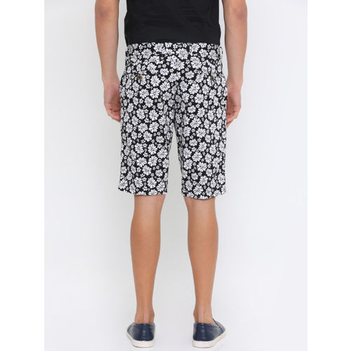 SHOWOFF Men Black Printed Slim Fit Regular Shorts