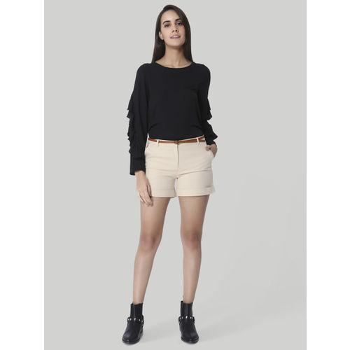 Vero Moda Women Beige Solid Regular Fit Regular Shorts