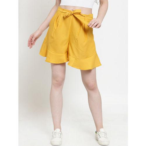Just Wow Women Mustard Yellow Solid Regular Fit Regular Shorts