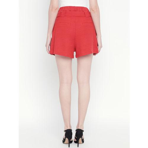 ANWAIND Women Rust Red Solid Regular Fit Regular Shorts