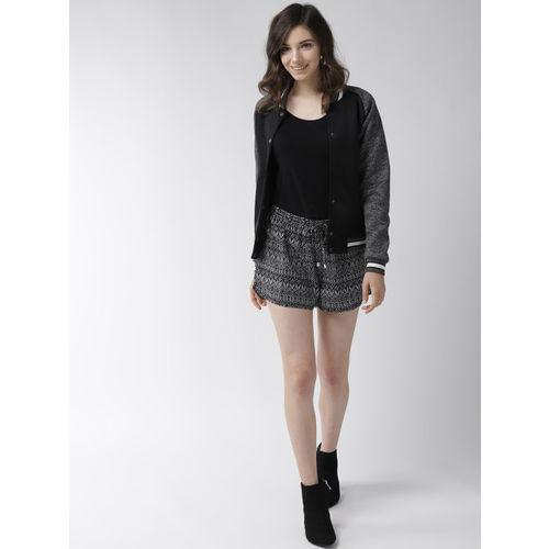 WISSTLER Women Black & White Printed Regular Fit Shorts