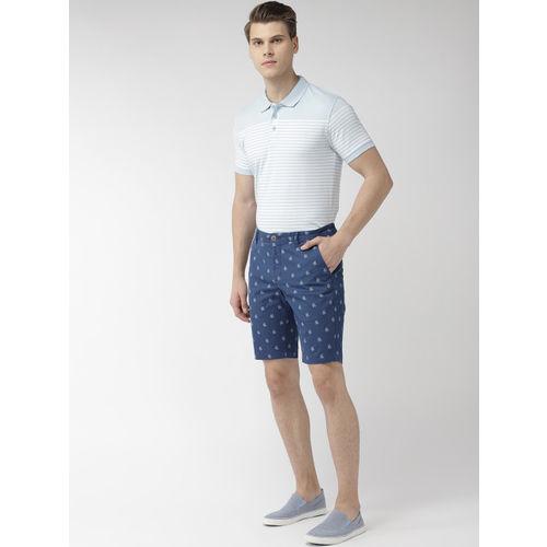 Park Avenue Men Blue Striped Regular Fit Regular Shorts