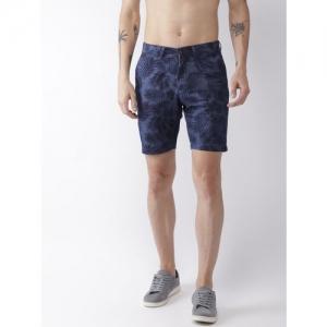 Flying Machine Men Blue Printed Slim Fit Regular Shorts