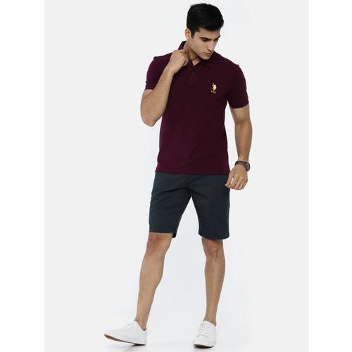 U.S. Polo Assn. Men Navy Blue Solid Regular Fit Shorts