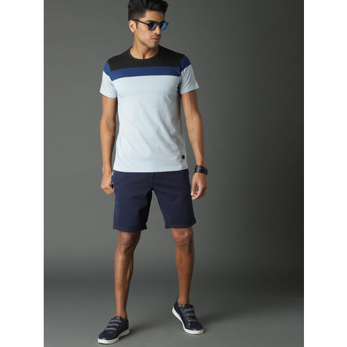 Roadster Men Navy Blue Solid Slim Fit Chino Shorts