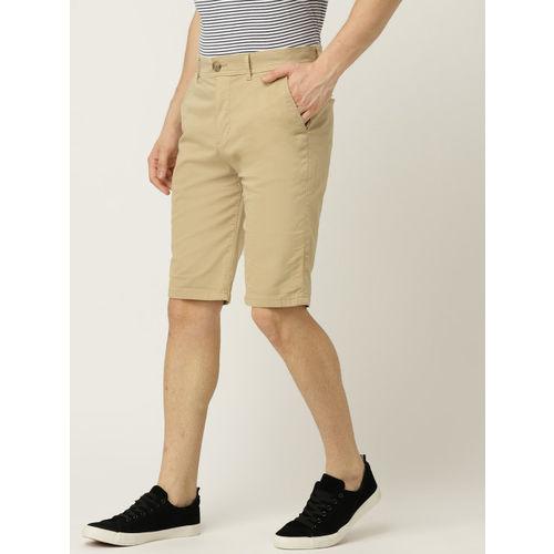 ESPRIT Men Beige Solid Slim Fit Regular Shorts