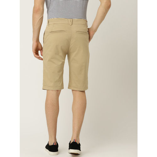 ESPRIT Men Beige Solid Slim Fit Regular Shorts