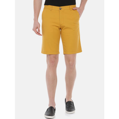 SayItLoud Men Yellow Solid Regular Fit Regular Shorts