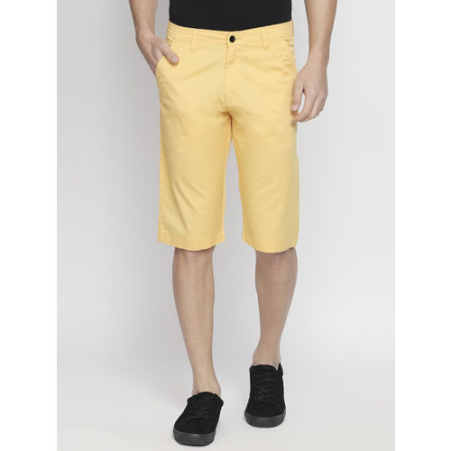 beevee Men Yellow Solid Regular Fit Regular Shorts