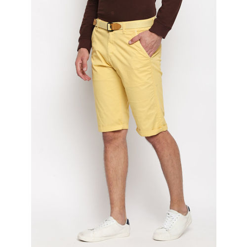 beevee Men Yellow Solid Regular Fit Chino Shorts