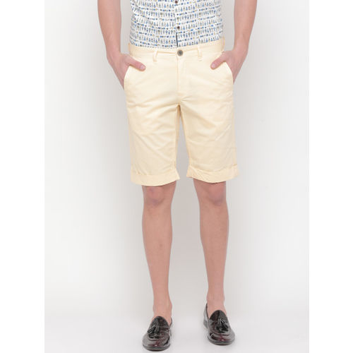SHOWOFF Men Yellow Solid Slim Fit Chino Shorts
