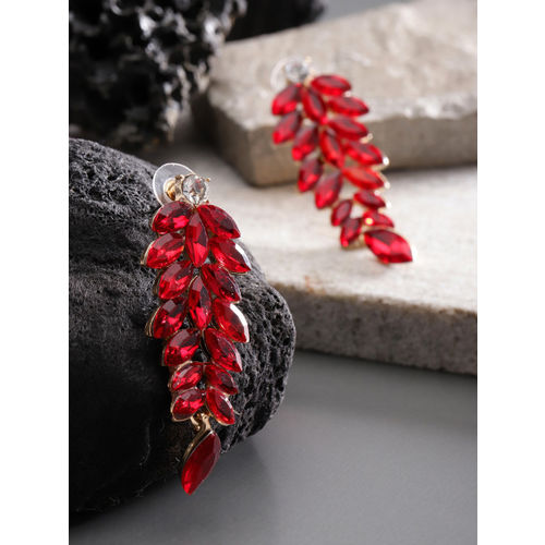YouBella Red Gold-Plated Leaf-Shaped Stone-Studded Drop Earrings