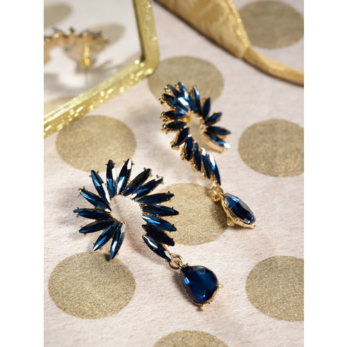 YouBella Navy Blue Gold-Plated Stone-Studded Contemporary Drop Earrings
