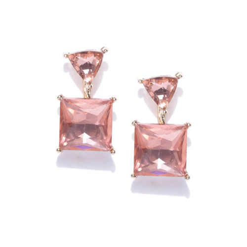 YouBella Pink Gold-Plated Stone-Studded Geometric Drop Earrings