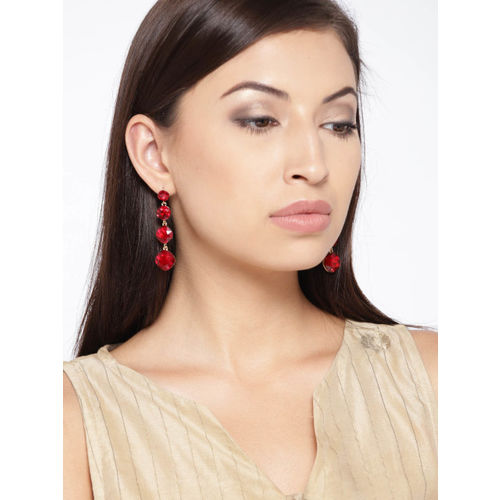 YouBella Red Gold-Plated Contemporary Drop Earrings